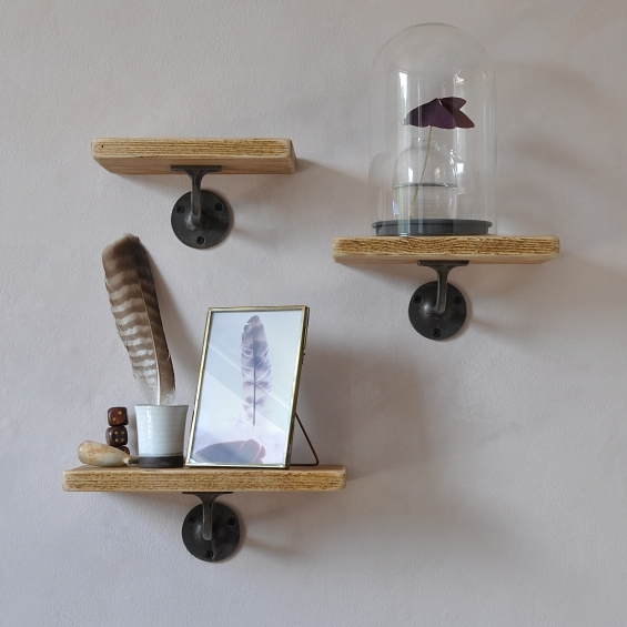 Pimlico Wood And Steel Set Of Three Shelves