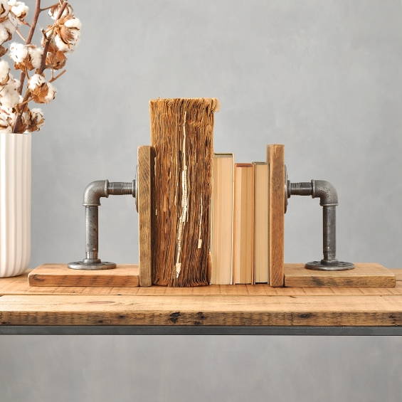 Industrial Wood And Steel Bookends