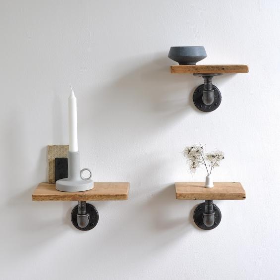 Set Of Three Reclaimed Wood Pipe Shelves