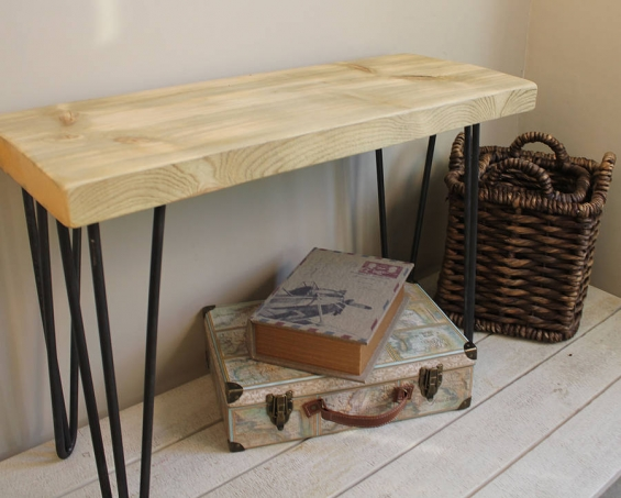 Industrial Wood And Steel Bench (Natural)